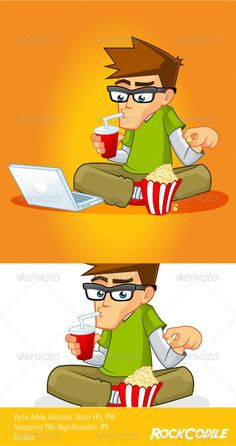 Realistic Graphic DOWNLOAD (.ai, .psd) :: http://vector-graphic.de/pinterest-itmid-1005735362i.html ... Geek Mascot ...  book, boy, cartoon, character, cola, geek, glasses, green, guy, laptop, male, mascot, movie, nerd, nice, notebook, popcorn, propessonal, soda, stock, trailer, vector, video  ... Realistic Photo Graphic Print Obejct Business Web Elements Illustration Design Templates ... DOWNLOAD :: http://vector-graphic.de/pinterest-itmid-1005735362i.html