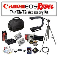 Deluxe Accessory Kit for Canon EOS Rebel T2i T3i T4i T5i 550D 600D 650D 700D Kiss X4 X5 X6 X6i X7i DSLR Digital Camera with Opteka Microfiber Deluxe Photo / Video Camera Gadget Bag, Opteka X-Grip Professional Camera / Camcorder Action Stabilizing Handle, 2 Pack (2x) of Opteka LP-E8 LPE8 High Capacity Battery Pack, Full Size Tripod and More! -- You can find more details by visiting the image link. (This is an Amazon Affiliate link and I receive a commission for the sales)