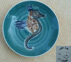 LOVELY JO LESTER ISLE OF WIGHT STUDIO POTTERY TOTLAND SEAHORSE PIN DISH #Bowls