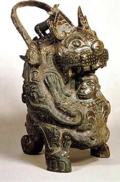 You in form of bear swallowing man. Native Design, China Art, Ancient China, Chinese Antiques, Ancient Artifacts, Bronze Age, Bronze Sculpture, Archaeology, Metal Art