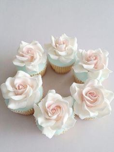 Pretty Rose Cupcakes food sweets cake pretty cupcake dessert frosting bake