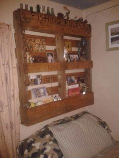 Headboard shelfing made from an old pallet.  Woodburn & stain. SrS #pallet #diy #repurpose #wood #woodburn