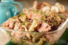 Receita de Mix de cogumelo com cebolinha e atum em receitas de saladas, veja essa e outras receitas aqui!