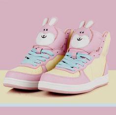 bunny bunny shoes bunny rabbit kawaii tokyo fashion japanese fashion korean fashion pastel goth harajuku sneakers pastel pink pastel easter pastel sneakers