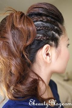 Love this curly pony, three braids on each side, with a pompadour or top poof, with curly pony hairstyle