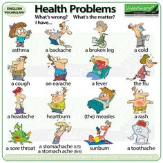 ESL Health Problems vocabulary chart - Health issues in English Kids English, English Study, English Words, English Lessons, Learn English, English Language, French Lessons, Spanish Lessons, Japanese Language