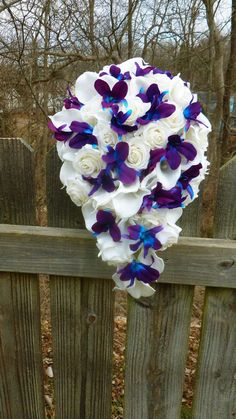 Cascading Ivory/white real touch rose, calla lily and purple blue dendrobium orchid bouquet, galaxy orchid bouquet By DressMyWedding on Etsy