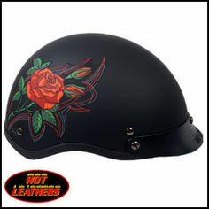 Hot Leathers Pinstripe Rose Ladies DOT Helmet