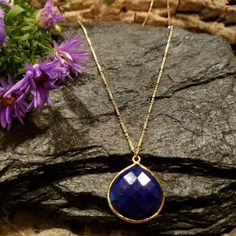 Lapis Lazuli Gemstone Necklace-Lapis Lazuli Semiprecious Gemstone Jewelry-Natural Lapis & Gold Vermeil-Gifts for Her-Gifts Mom, Sister, Wife   $54.50