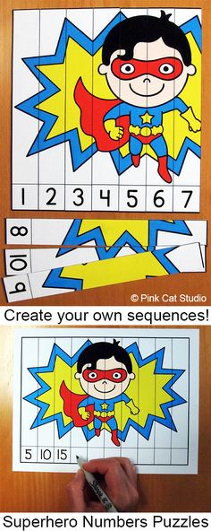 Students practice recognizing and ordering numbers or letters with these fun Superhero theme puzzles. These are perfect for math centers, language centers, homework or early finishers. Each puzzle is editable so you can create the perfect sequences to ali Superhero Preschool, Superhero Classroom Theme, Kindergarten Classroom, Kindergarten Activities, Classroom Themes, Preschool Activities, Super Hero Activities, Superhero Alphabet, Early Years Maths