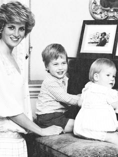Princess Diana with William & Harry at the piano.