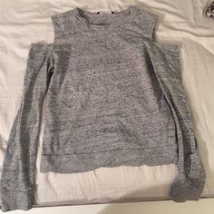 Heather gray shirt Open shoulders Tops Tees - Long Sleeve
