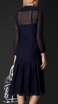 Burberry Prorsum Bright navy Striped Wool Silk Chiffon Dress - A wool silk chiffon dress featuring ribbed stripes and sheer texture. Complemented by soft gathers, the dress is crafted with a gently defined waist and dropped tier detail, while the button closure is finished with a concealed placket.  Discover the women's dress collection at Burberry.com
