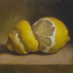 'Lemon Peel' by upstate NY-based American  painter Debbie Becks Cooper. Oil on panel, 5 x 5 in. via the artist's site