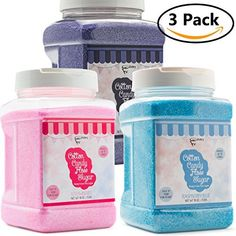 The Candery Cotton Candy Floss Sugar 3 Pack Strawberry Raspberry Blue and Grap . Blue Strawberry, Raspberry, Pink Vanilla, Candy Floss Sugar, Cotton Candy Grapes, Japanese School Bag, Hawaiian Shaved Ice, Jars For Sale, Disney Coffee Mugs