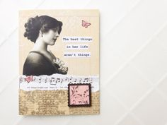 Handmade Card The Best Things in Life  OOAK collage tan by newnanc