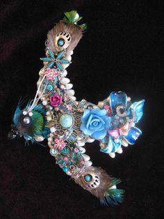 Vintage Jewelry Blue Bird Collage Decorative by ArtCreationsByCJ, $65.00