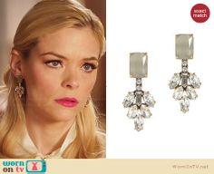 Lemon's green crystal earrings on Hart of Dixie.  Outfit Details: http://wornontv.net/30162/ #HartofDixie