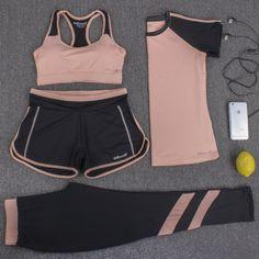 Women Yoga Set Four Pieces Bra T-shirt Shorts Pants Exercise