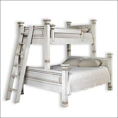 The Lisette twin over queen bunk bed has the same beautiful designed with raised panel detail as the original Lisette bunk bed.  It is made with the highest quality of construction and will bring a custom look to any bedroom.  Choose from a large selection of gorgeous finishes.  Shown in Antique White.  $7200.00  For more details and to shop my boutique visit this link: https://lizann.myshopify.com/collections/furnishings/products/lisette-twin-over-queen-bunk-bed