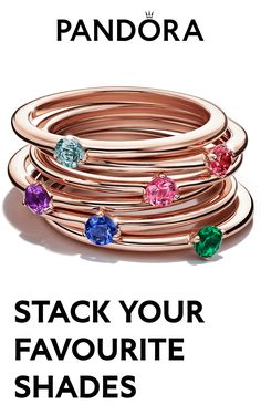 A rainbow of colour, in slim solitaire rings, each one with their own special meaning. Pick a single colour, or mix them in a stack – either way, it's your truth and your story. Pandora Charms Rose Gold, Pandora Rings, Pandora Jewelry, Cute Jewelry, Jewelry Accessories, Unique Jewelry, Pandora Collection, Style Personnel, Collars