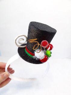 Mini muñeco de nieve sombrero diadema negro por TinseledTiara