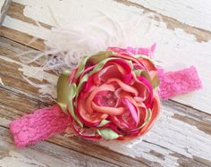 Satin and lace headband M2M Giggle Moon Morning by ClairebowBaby, $20.00