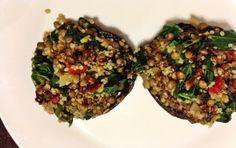lentil + quinoa stuffed portobellos