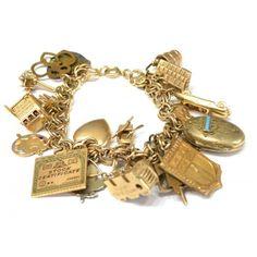 VINTAGE ESTATE 14KT GOLD CHARM BRACELET,88.8 GRAMS : Lot 349 ❤ liked on Polyvore featuring jewelry, bracelets, accessories, vintage gold bangle, gold bracelet bangle, gold jewellery, yellow gold bracelet y vintage jewelry