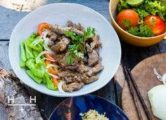 Tales, or should we say, recipes from abroad! The Hemsley girls are back, sharing their recipe from this morning's Cook for Me from Cambodia… Cambodian Beef Lok Lak by Hemsley + Hemsley Serves 2 Ingr Meat Recipes, Asian Recipes, Healthy Recipes, Ethnic Recipes, Lok Lak, Clean Eating, Healthy Eating, Healthy Food, Healthy Meals