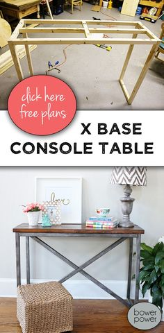 Gotta BUILD THIS! Free building plans for this gorgeous Restoration Hardware knockoff console table. It's built completely from wood and painted to look like metal on the base. Diy Wood Projects, Furniture Projects, Furniture Plans, Furniture Makeover, Home Projects, Woodworking Projects, Home Furniture, Furniture Assembly, Furniture Stores