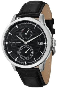 Stuhrling Original Men's 493.33151 Symphony Eternity Navigator PR Automatic Date Leather Strap Watch Stuhrling Original. $179.00. Black alligator embossed genuine leather strap with stainless steel tang buckle. Stainless steel brushed finish round shaped case with polished bezel and protective krysterna crystals. Black dimple design on inner dial with power reserve and seconds sub dials. Sunray outer dial with date window at three o' clock position and silver tone applied marker...