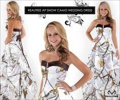 My dream wedding dress! Realtree Snow Camo Wedding Dress - Snow White In the Woods. Snow Camo Wedding, White Camo Wedding Dress, Camo Wedding Dresses, Camo Dress, Dream Wedding, Bridesmaid Dresses, Prom Dresses, Fall Wedding, Snow Dress
