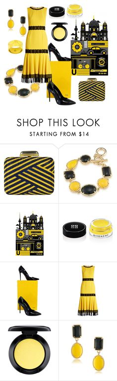 """""""Black & Yellow Berlin"""" by lavalu-1 ❤ liked on Polyvore featuring Judith Leiber, 1st & Gorgeous by Carolee, Monde Mosaic, Givenchy, Fendi, Dolce&Gabbana, MAC Cosmetics, Gucci, yellow and black"""