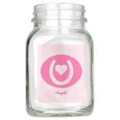 Pink Horseshoe and Heart Mason Jar - mason jars gifts ideas presents