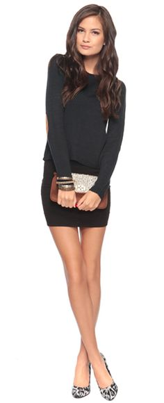chunky-ish sweater + tight black skirt = really cute, esp with heels