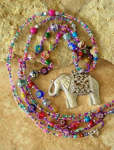Bohemian Necklace, Boho Colorful Necklace, Elephant Pendant, Indie, Hippie, Beaded Artisan Jewelry,
