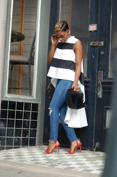 Black And White Tops, My Outfit, Color Blocking, Slip On, Chic, Casual, How To Wear, Clothes, Outfits