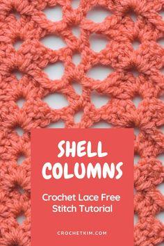 #free #crochetstitch #tutorials #crochetkim #shellcolumns Different Crochet Stitches, Tunisian Crochet Stitches, Freeform Crochet, Crochet Stitches Patterns, Crochet Patterns Amigurumi, Knitting Stitches, All Free Crochet, Learn To Crochet, Cute Crochet