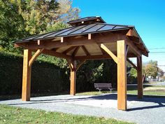How about building or buying a Gazebo/Pergala? Gazebo On Deck, Hot Tub Gazebo, Garden Gazebo, Pergola With Roof, Wooden Pergola, Patio Roof, Pergola Plans, Outdoor Gazebos, Outdoor Structures
