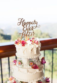 """Gold """"Happily Ever After"""" cake topper, colorful florals, bright and beautiful // Janae Shields Photography"""