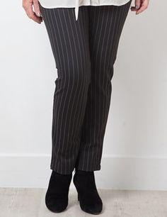 Rae Black/White pinstripe stretch trouser