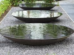 Steel Water Bowl/Garden Water Feature/Dish/Metallic Grey in Water Features In The Garden, Garden Features, Outdoor Water Features, Landscape Architecture, Landscape Design, Architecture Geometric, Installation Architecture, Art Installation, Landscape Art
