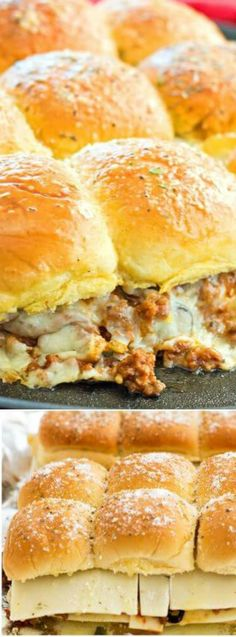 These Sloppy Joe Pizza Sliders from Melissa's Southern Style Kitchen have the most delicious buttery rolls that are filled with beef that is seasoned to perfection, pizza sauce, veggies and tons of ooey-gooey cheese!
