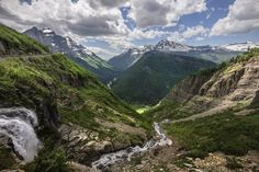 Góry, Niebo, Wodospad, Strumień