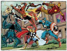 Avengers - Ms. Marvel, Wonder Man, Iron Man, Beast, Thor and Captain America