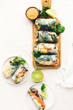 Southwest Vegan Spring Rolls with Smoky Chipotle Sauce | These gluten-free spring rolls are packed with veggies   paired with zesty chipotle sauce!