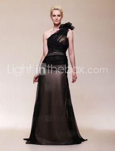 Chiffon Satin A-Line One Shoulder Sweep Evening Dress $179.99