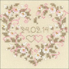 RIOLIS Counted cross stitch kit. Includes beige Zweigart Lugana fabric, Anchor stranded cotton threads (3 colors), beads, 2 needles, instructions, color chart.