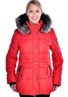 RedX Canada Womens Short Parka Winter Down Coat with Faux Fur Lined Hood Red Large *** Click image for more details. (Note:Amazon affiliate link)